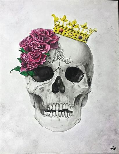 Crown Skull Tattoo Tattoos Roses Painting Watercolor
