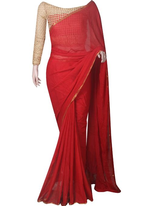 Buy chiffon saree with designer blouse - Apparel for Women