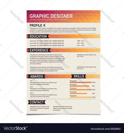resume template cv creative background royalty  vector