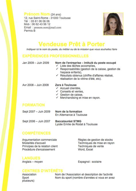 exemple cv model cv free demande d emploi exemple