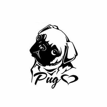 Pug Decal Decals Stencil Silhouette Stickers Vinyl