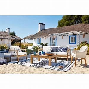 Coussin Exterieur Maison Du Monde : coussin d 39 ext rieur bleu motifs graphiques blancs 40x60 naxos maisons du monde ~ Melissatoandfro.com Idées de Décoration