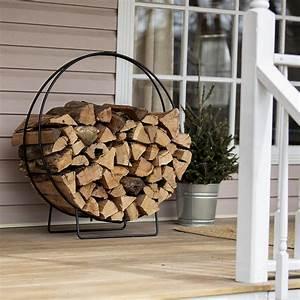 Hoop, Style, Firewood, Rack, Weather, Resistant, Large, Capacity, Black, Wrought, Iron, 36, U0026quot, 761768396773