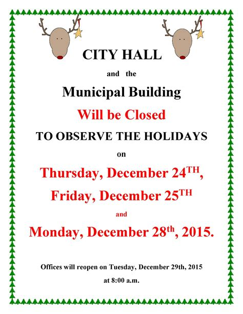 office will be closed sign template city offices closed for holidays town of morehead city