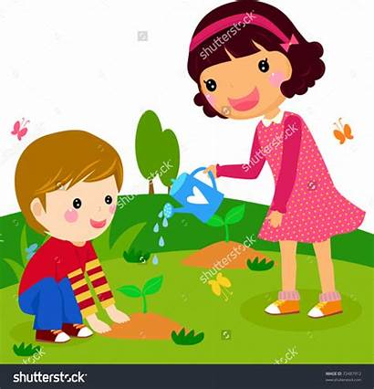 Clipart Plant Water Watering Plants Trees Boy