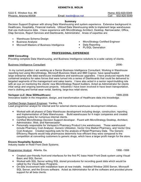 Microstrategy Administrator Resumes by Kenneth Wolin Resume 8 10