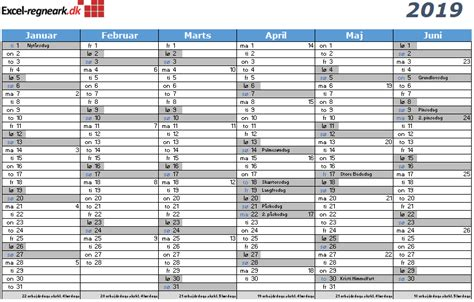 kalender til excel med helligdage klar til print