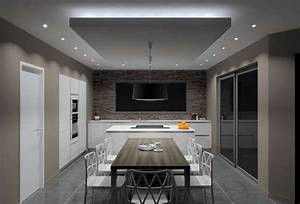 Installer Spot Plafond Existant : eclairage faux plafond cuisine charmant luminaire salle ~ Dailycaller-alerts.com Idées de Décoration
