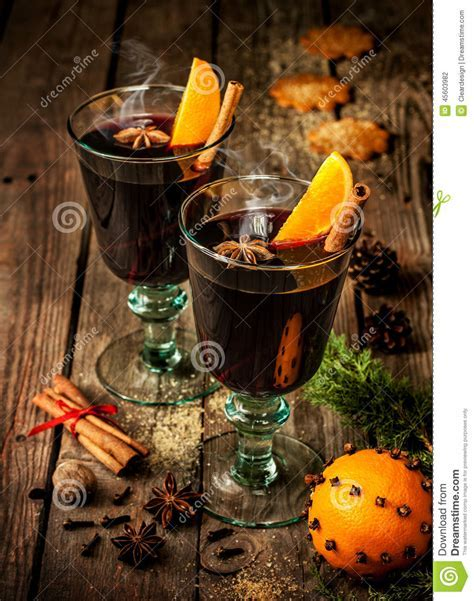 Mulled Wine With Orange Slices On Wood   Winter Warming