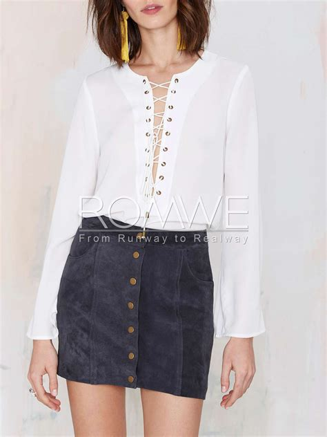 lace up blouses white sleeve lace up blouse