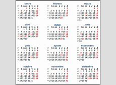 Calendario 2014 de México con días festivos