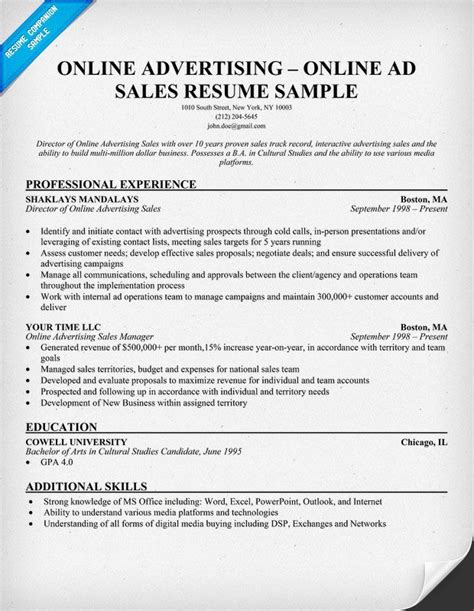 online advertising online ad sales resume resumecompanion com resume sles across all