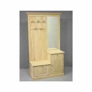Meuble d39entree vestiaire tradition 2p 1t 190 cm pier import for Meubles d entree vestiaire