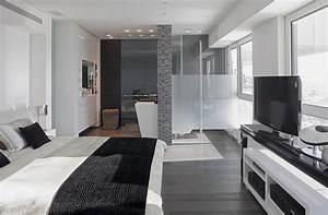 Modern white and gray apartment interior design by for Interior design black white grey