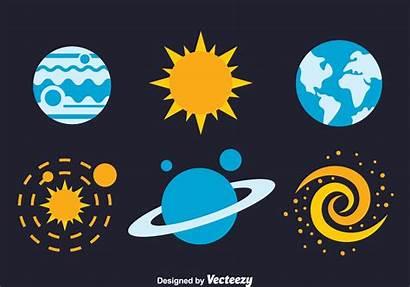 Space Element Icons Flat Vector Vectors Clipart