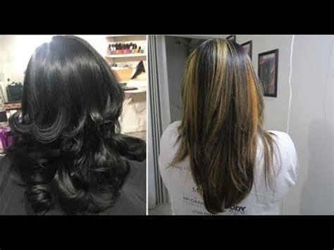 balayage highlights  black hair hair color tutorial