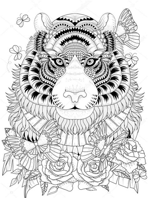 tiger coloring pages intricate zentangle art  adults