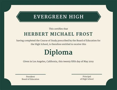 green bordered high school diploma certificate templates