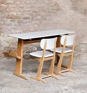 Chaise Bureau Vintage : bureau casala gris en bois et ses 2 chaises gentlemen designers ~ Teatrodelosmanantiales.com Idées de Décoration