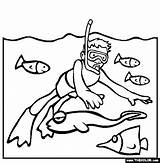 Snorkeling Coloring Pages Line Drawings Drawing Beach Thecolor Google Sketches sketch template