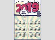 Cartoon styles 2019 calendar template vectors 08 free download