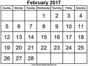 February 2017 Calendar Printable