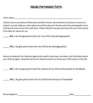 photography  social media consent form daycare forms