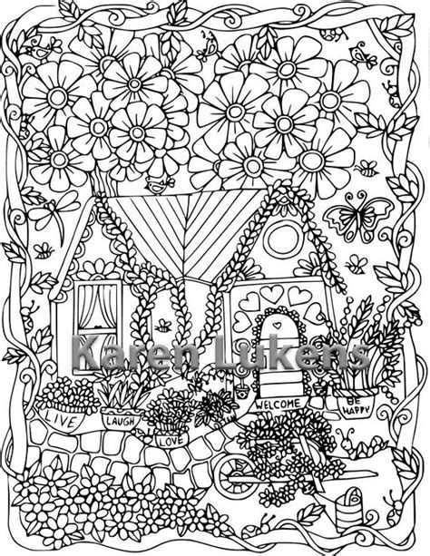 5 pages happyville coloring pack 1 5 adult coloring book