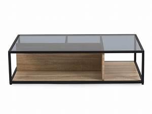 Table Basse Verre Bois : table basse en bois et plateau en verre l120 cm ~ Teatrodelosmanantiales.com Idées de Décoration
