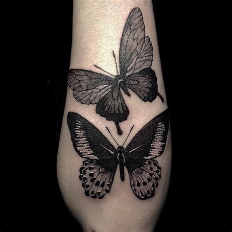 black work butterfly tattoo   forearm butterfly
