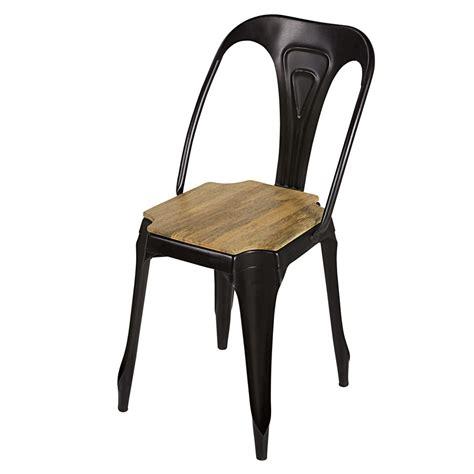 chaise industrielle maison du monde chaise indus en métal noir mat et manguier multipl 39 s maisons du monde