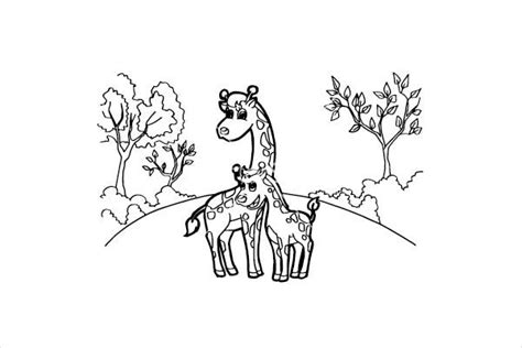giraffe coloring pages  psd  jpg format   premium templates