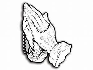 Praying Hands with Rosary Shaped Sticker (christian ...