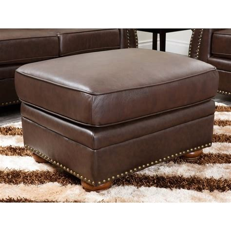 brown leather chair with ottoman abbyson living pearla leather club arm chair with ottoman