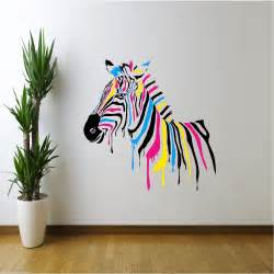 Wall Mural Decals Uk by Full Colour Zebra Abstract Animals Wall Sticker Girls Boys