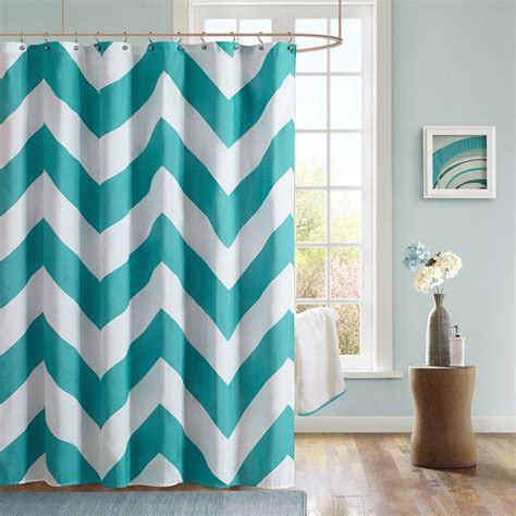 fabric aqua curtain and brown shower curtain useful