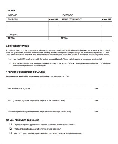 sample grant report form  documents  word