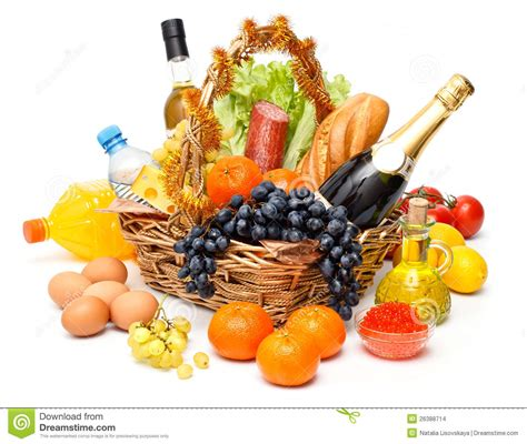christmas basket of goods stock images image 26388714