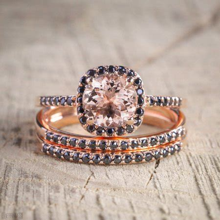 jeenmata  carat morganite  black diamond trio