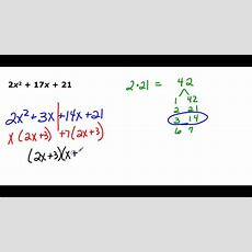 Factoring Trinomials In The Form Ax2 + Bx + C Youtube