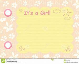 Baby Boy Card Design Its A Girl Template Stock Illustration Illustration Of