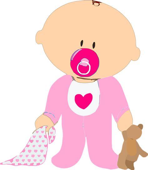 Imagem Vetorial Gratis Bebê, Menina, Teddy, Chupeta
