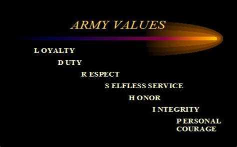 army values armystudyguidecom page