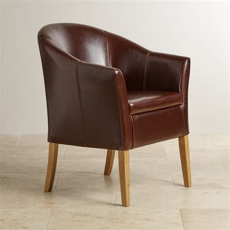 Tub Chair by Brown Leather Tub Chair With Solid Oak Legs Oak