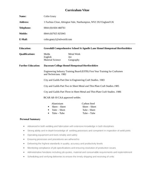 Welder Fabricator Resume Exles by Resume Welder Fabricator Sales Welder Lewesmr