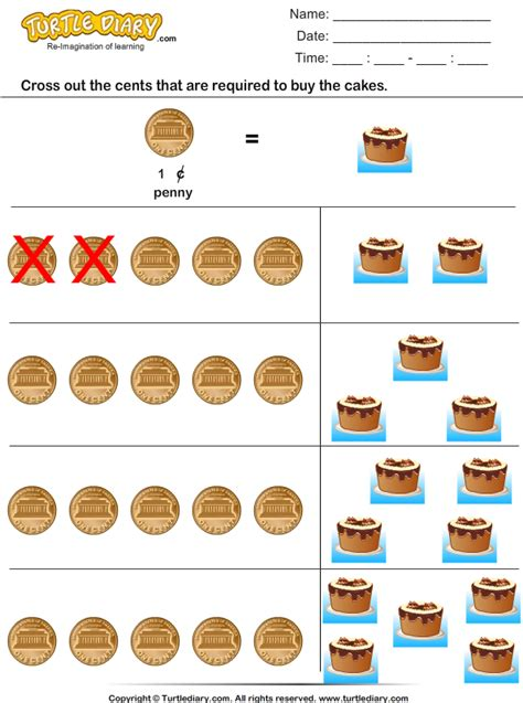 cross  cents required  buy cakes worksheet turtle diary