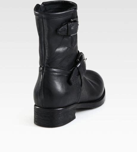 buckle motorcycle boots alberto fermani leather buckle motorcycle boots in gray
