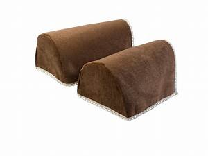 Decorative chenille rounded arm caps pair antimacassar for Brown leather sofa arm covers