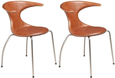 buy flair light brown leather dining chair with chrome