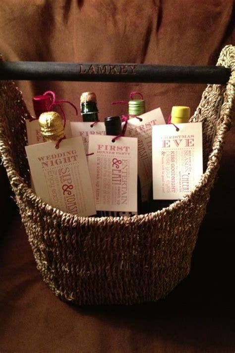 wedding  engagement gift magazine basket  bottles